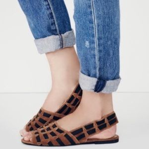 Free People Swift Suede Woven Mini Wedge Flats